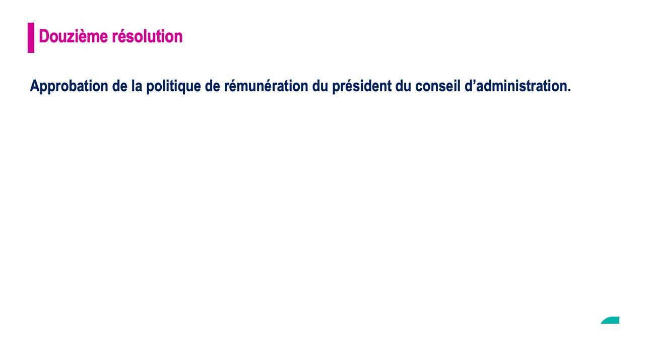 Douzième résolution<br>Approbation de la politique de rémunération du président du conseil d'administration