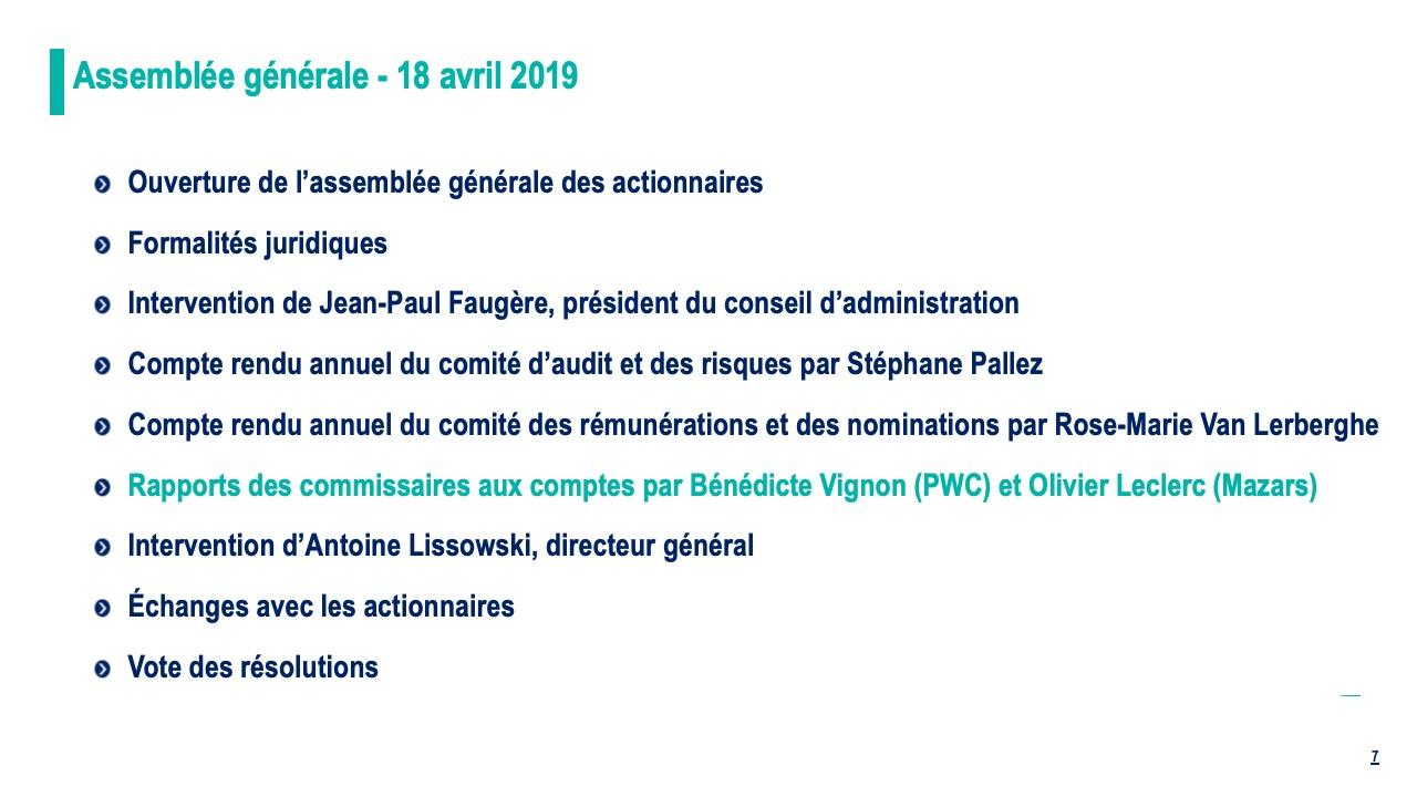Rapports des commissaires aux comptes par Bénédicte Vignon (PWC) et Olivier Leclerc (Mazars)