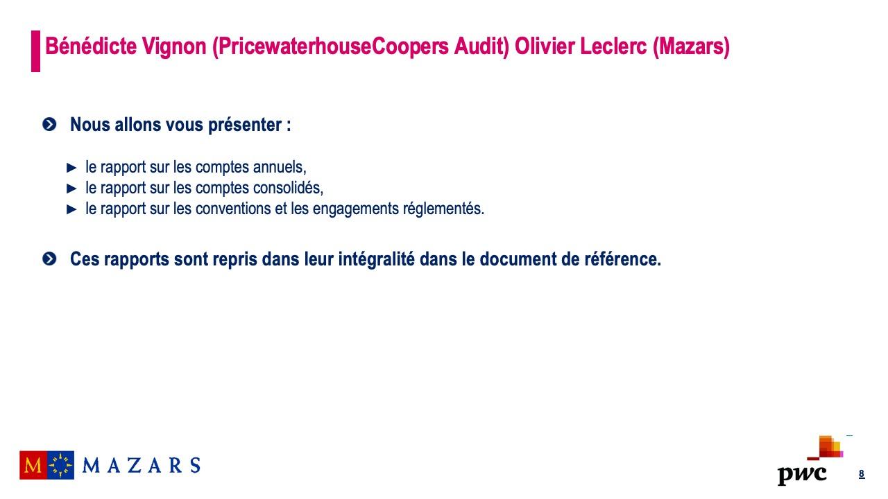Rapports des commissaires aux comptes